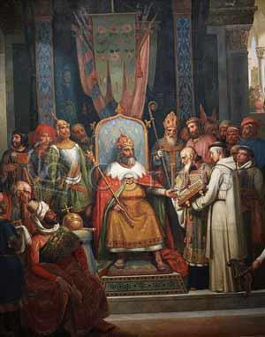 Карл Великий принимает ученого Алкуина, фактически министра образования империи