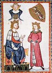 Германский император Генрих VI, содержавший Ричарда в тюрьме, со своим сыном Конрадом